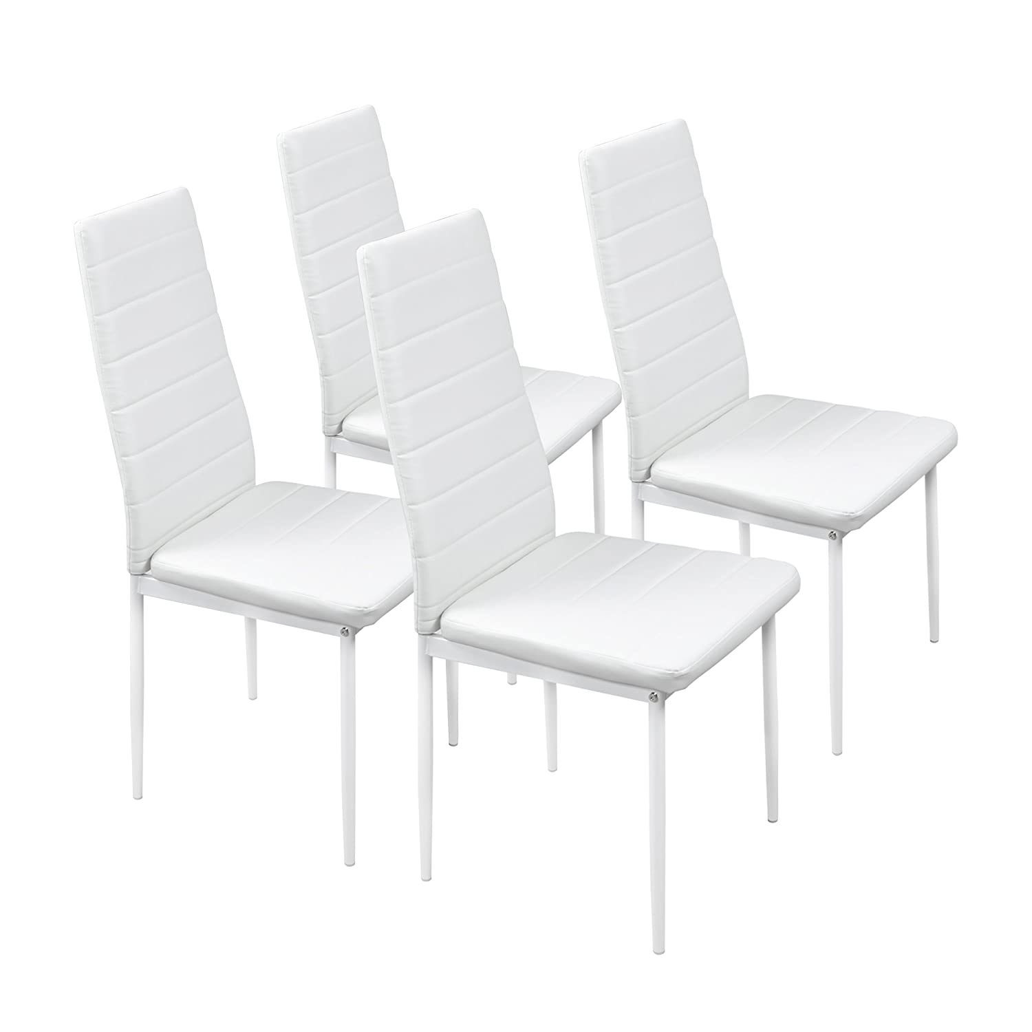 At Home Kitchen Chairs.Fayean Dining Kitchen Chair High Back Foam Padded Seat With Steel Frame Heavy Duty For Home Kitchen Room Furniture Set Of 4 White