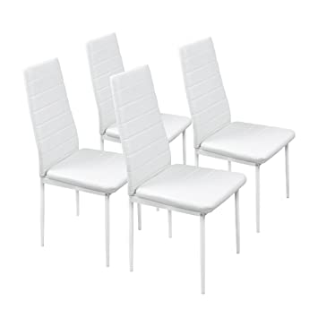 Fayean Dining Kitchen Chair High Back Foam Padded Seat With Steel Frame Heavy Duty For Home Kitchen Room Furniture Set Of 4 White