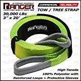 "Ranger 3"" x 20' Tow Strap Tree Saver for Winch Recovery Heavy Duty with Reinforced Loops + Protective Sleeves 30,000 lb Breaking Capacity 13.6 Tons"