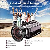 """Ablue Camcorders, 4K Ultra-HD Portable 30FPS Wifi Digital Video Camera, IR Night Vision Camcorder 3.0"""" Touch Screen with Wide Angle Lens"""