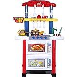 Excelvan 758A - Cocina de Juguete de Tamaño Grande (Cocina Electrónica, con Luz Agua y Sonido, Imaginación, con Batería), Colorido