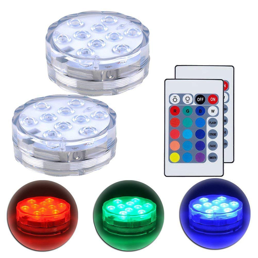 Submersible LED Lights with Remote Control Underwater Battery Operated Light,10-LED Waterpoof MultiColor Reusable Lights for Aquarium, Valentine's Day, Pond, Wedding, Garden, Swimming Pool,2 Pack by XingQiPlay