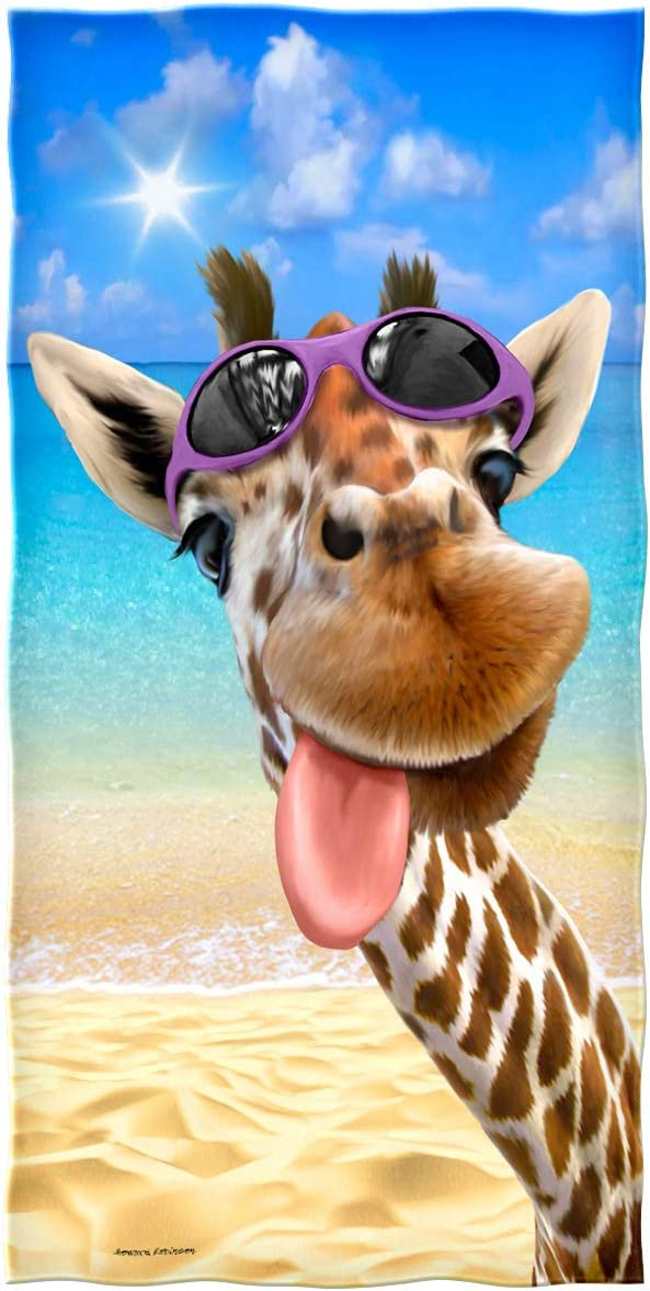 Dawhud Direct Selfie Super Soft Plush Cotton Beach Bath Pool Towel (Giraffe)