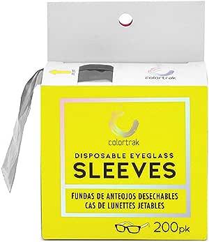 Colortrak Disposable Eyeglass Sleeves, Black (200 Count)