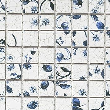Keramik Mosaik Fliesen Strawberry Weiss Blau