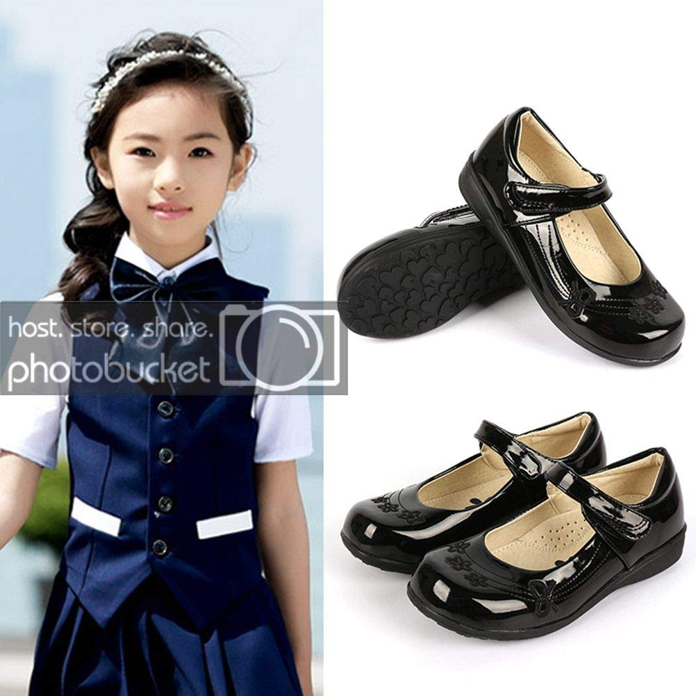 DADAWEN Girl's Strap School Uniform Dress Shoe Mary Jane Flat (Toddler/Little Kid/Big Kid) Black/Flower US Size 13 M Little Kid by DADAWEN (Image #2)