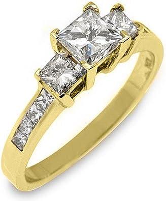 Amazon Com 14k Yellow Gold 1 60 Carats Princess Cut Past Present Future 3 Stone Diamond Ring Engagement Rings Jewelry