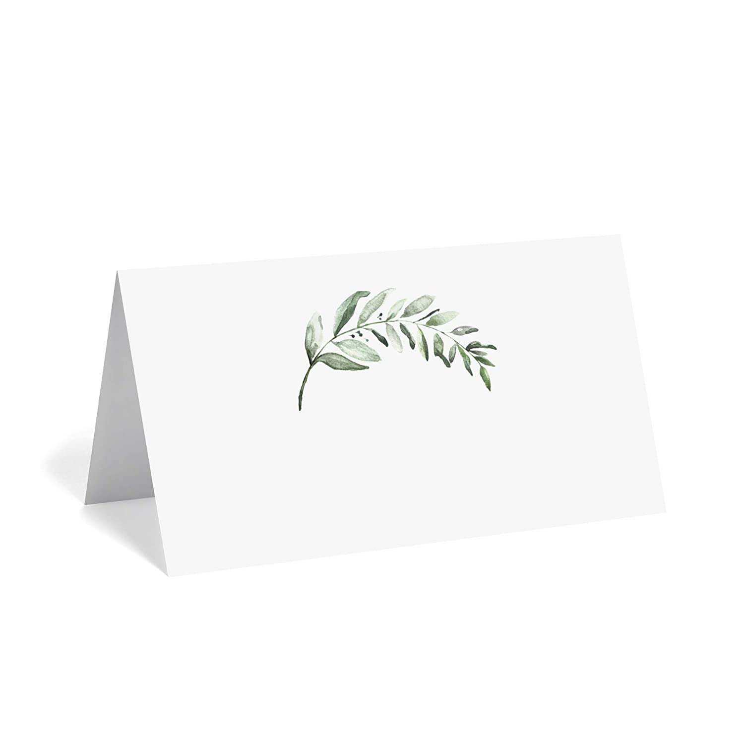 Bliss Collections Greenery Place Cards for Wedding or Party, Seating Place Cards for Tables, Scored for Easy Folding, 50 Pack, 2 x 3.5 Inches