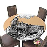 PINAFORE Luxury Round Table Cloth for Home use Steam Locomotive for Buffet Table, Holiday Dinner 55''-59'' Round (Elastic Edge)