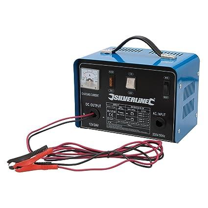 Silverline 268317 - Cargador de batería 12/24 V (Para baterías de 12-
