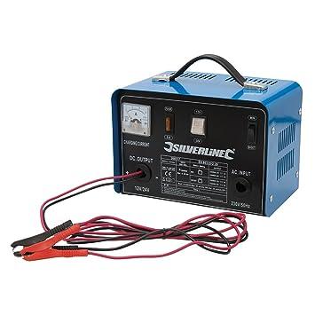Silverline 268317 - Cargador de batería 12/24 V (Para baterías de 12-70 Ah)
