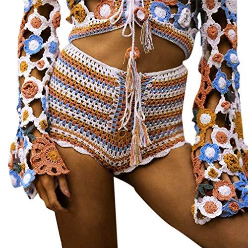 - ❤️ ZyrunaeL ❤️ Womens Summer Hand Crocheted Beach Hollow Out Swimsuit Bottom Swim Board Shorts
