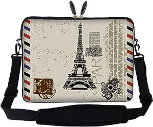 Meffort Inc 17 17.3 inch Neoprene Laptop Sleeve Bag Carrying Case with Hidden Handle and Adjustable Shoulder Strap - Paris Design