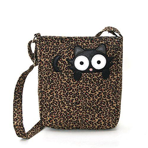 Peeping Black Cat On Leopard Canvas Messenger Bag
