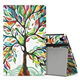 MoKo Case for All-New Amazon Fire HD 8 Tablet (7th Generation, 2017 Release Only) - Slim Folding Stand Cover for Fire HD 8, Lucky TREE (with Auto Wake / Sleep)