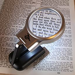 MagniViz Magnifier with Light, Hands Free or Handheld - Bonus Cleaning Cloth - Portable LED Lighted Magnifying Glass with Folding Stand - 3x Magnification - Suitable For Hobbies, Crafts & Seniors