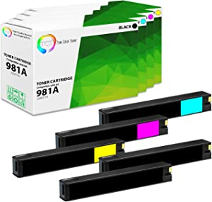 TCT Compatible Ink Cartridge Replacement for HP 981A Works with HP PageWide Enterprise Color 556dn 556xh, MFP 586z 586dn Printers (Black J3M71A, Cyan J3M68A, Magenta J3M69A, Yellow J3M70A) - 5 Pack