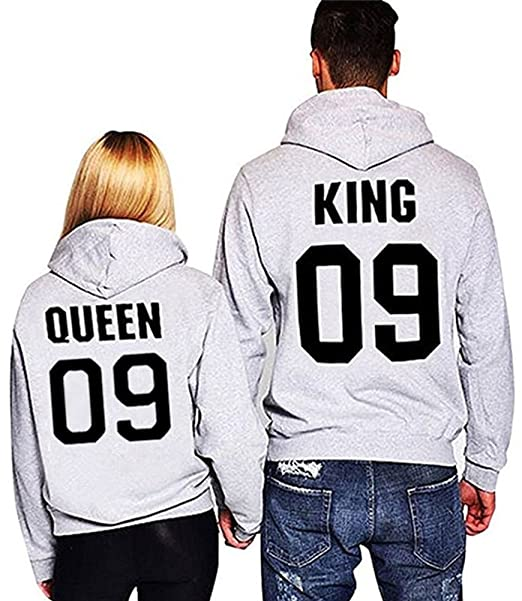 6178b70062947 1 Pcs Novelty & More Meowstyle Fashion Long Sleeve King Queen Hoodies  Sweatshirt Pullover with Hood ...