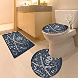 3 Piece Anti-slip mat setSkulArtistic Illustration In Classic Flora Frame Design Long Non Slip Bathroom Rugs