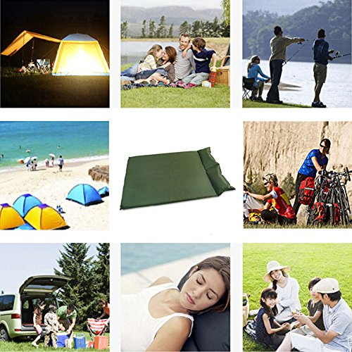 AZLife Portable Double Self Inflating Sleeping Pad for Camping Backpacking Hiking Traveling(Army Green)