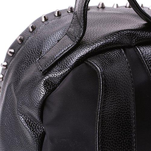 MForshop Eco Pelle A Nuovo Tessuto Nero Bag Zaino Spalla Borsa Borsetta 004 Zainetto Donna axwqnr1a