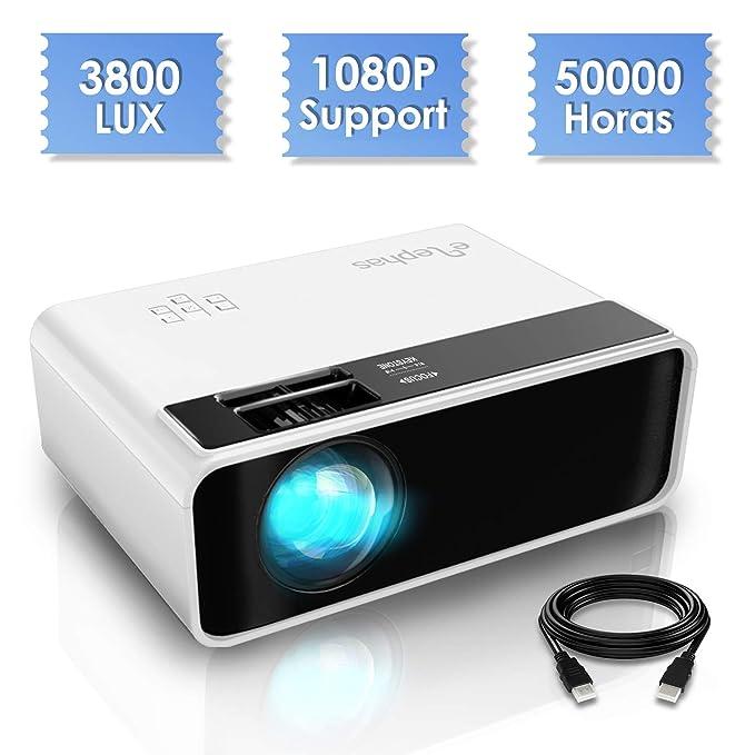 Mini proyector, ELEPHAS Video Proyector 3800 Lux Proyector de Cine en casa portátil LED de Larga duración 1080P Compatible, Compatible con Fire TV Stick, PS4, PC a través de HDMI, VGA, TF, AV y USB