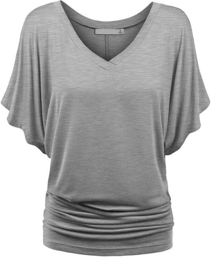 Ghope Damen Sommer Casual Loose Fit Kurzarm Fledermaus Batwing T-Shirt V-Ausschnitt  Elastisch Tunika Top Bluse: Amazon.de: Bekleidung