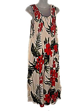 Plus Size Hawaiian Tropical RED Cream Floral Tank TOP Long Sun Dress  (Xl-2X-See Measurements)