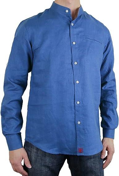 Sinologie - Camisa Casual - Cuello Mao - para Hombre Azul S ...