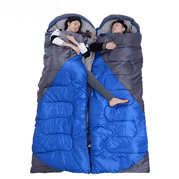 Amazon.com : FGSJEJ Four Seasons Sleeping Bag Outdoor Adult Travel Camping Sleeping Bag Splicable Double Sleeping Bag with Compression Bag (Color : Blue, ...