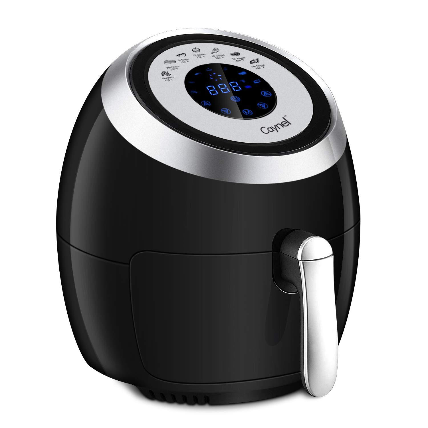 CAYNEL Digital Air Fryer XL (3.8QT) Touchscreen Programmable Deep Oven Cooker with 7 Cook Presets, Detachable Double Basket - Black, 1500W