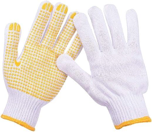ZLJYE Guantes de Hilo de algodón, Transpirables, Resistentes al Desgaste, Antideslizantes, protección para la manipulación mecánica (Color : Amarillo): Amazon.es: Hogar