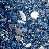 Myard Fireglass Media for Fireplace (Arctic Blue Ultra Reflective, 15 LBs)