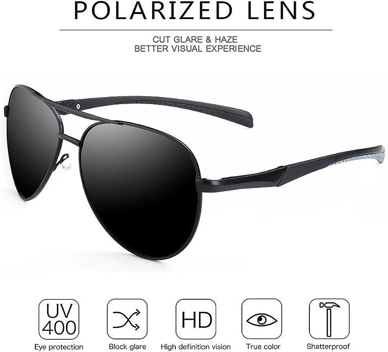 0a5ef296cb Amazon.com  WELUK Aviator Sunglasses for Men Polarized Military ...