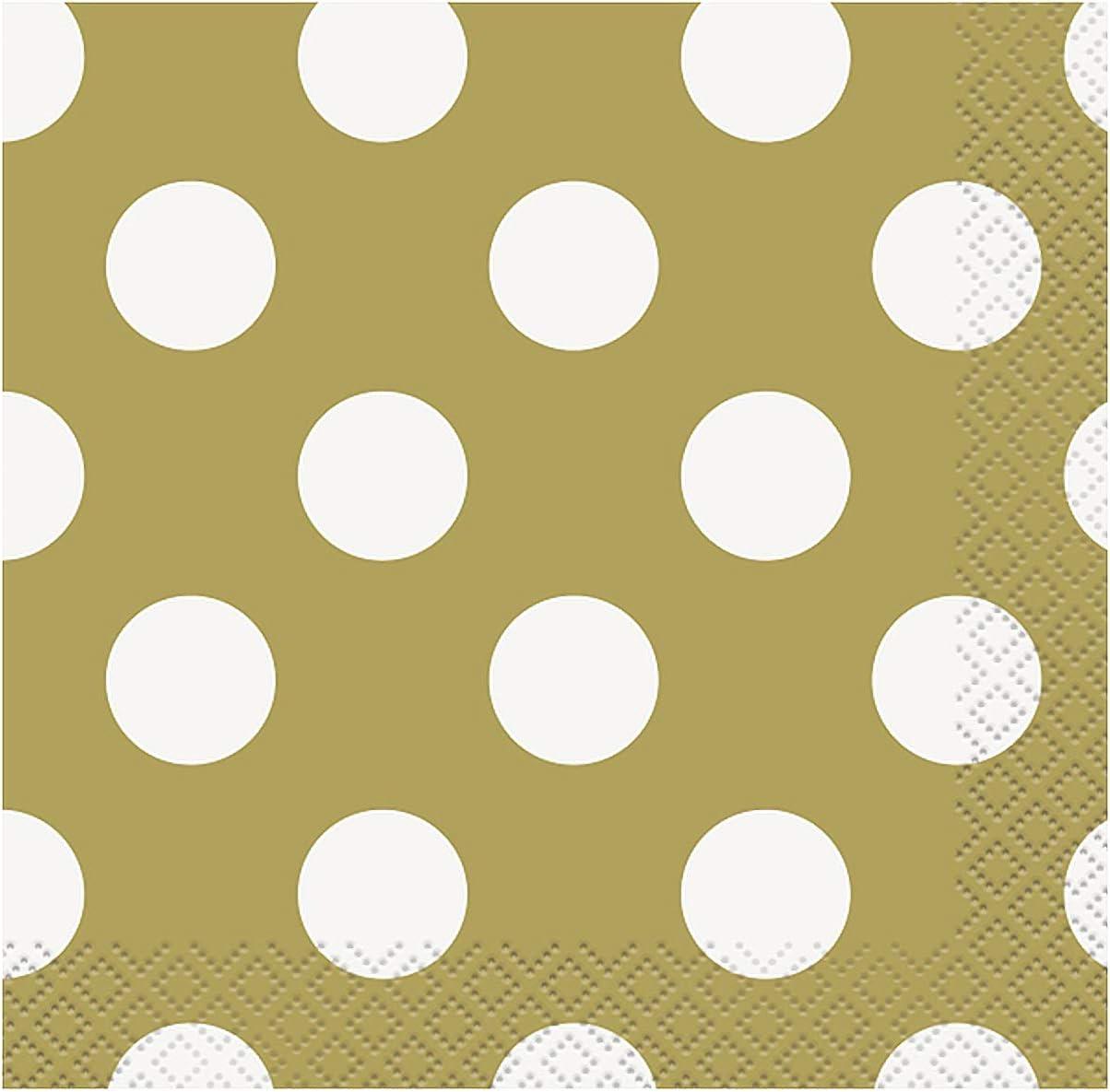 Gold Polka Dot Beverage Napkins, 16ct
