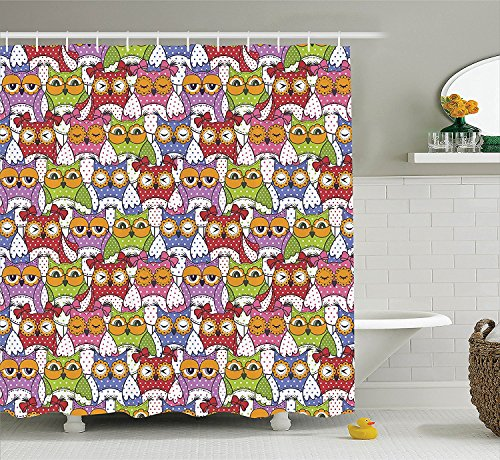 Owls Home Decor Shower Curtain Set Ornate Owl Crowd With Different Sights And Polka Dots Like Matryoshka Dolls Fun Retro Theme Bathroom Accessories (Pin Up Dolls Tattoos)