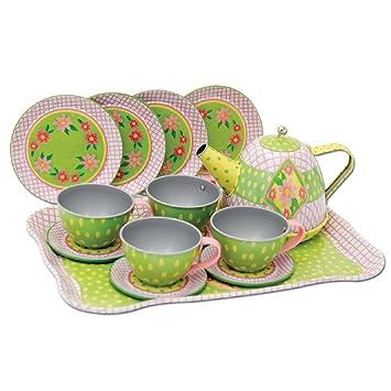 Koolbitz Girls Children Pretend Play15 Pieces Tin COFFEE TEA SET in Pink Carry