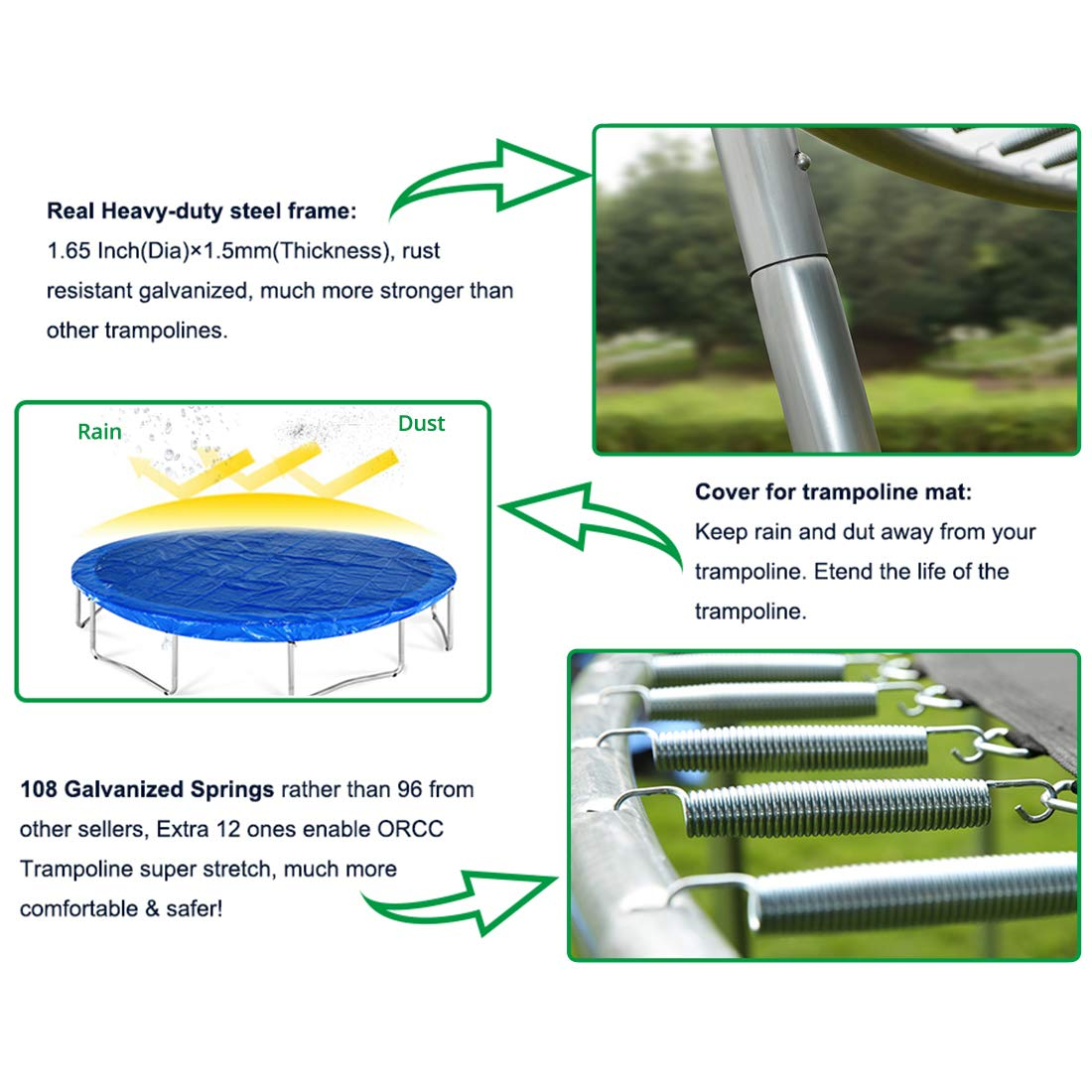 ORCC New Upgrade 15 14 12 10 FT Trampoline with Safety Enclosure Net Wind Stakes Rain Cover Ladder,Outdoor Trampoline with TUV Certificated,Best Gift for Kids by ORCC (Image #5)