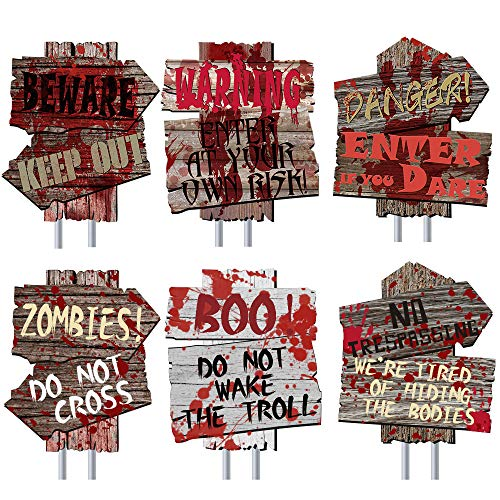 Vencer Set of 6 Beware Halloween Yard Signs with Metal Stake,Halloween Outdoor Yard Warning Props Decor Party Decor Supplies,13.8″ x 11.8″