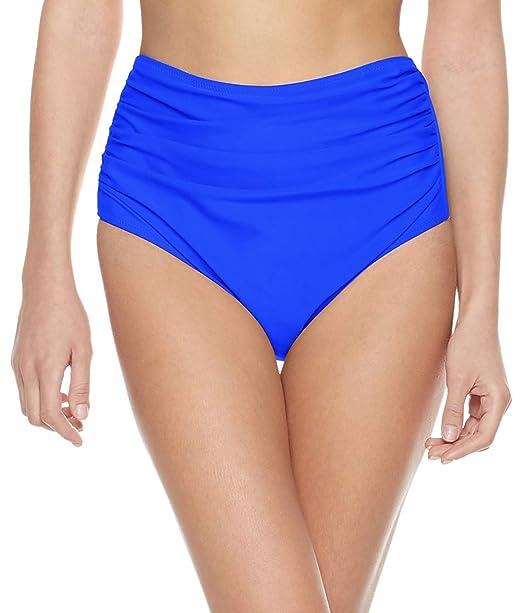 dc6cfbf27a7 Bloom Muse Women's High Waisted Bikini Bottoms Swim Underwear Vintage  Ruched Panties