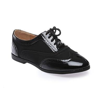 La Modeuse Zapatos de Cordones Para Mujer, Negro (Negro), 41