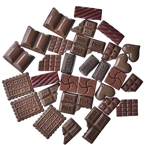 Mtlee 30 Pieces Chocolate Slime Beads Cute Chocolate Charms Resin Ornaments Accessories for Homemade (Chocolate Ornaments)