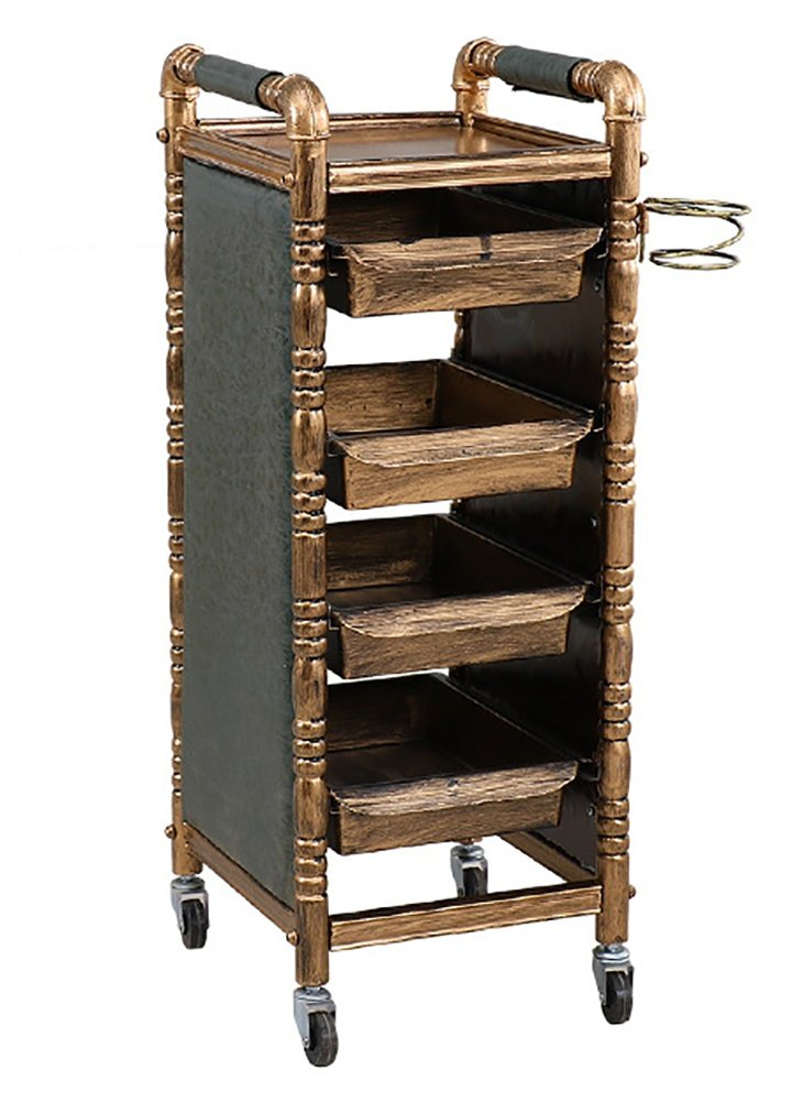 5 Tiers Salon Retro Hairdresser Trolley Barber Beauty Makeup Storage Tray Hair Roller Cart with 4 Gold Drawers wexe.com