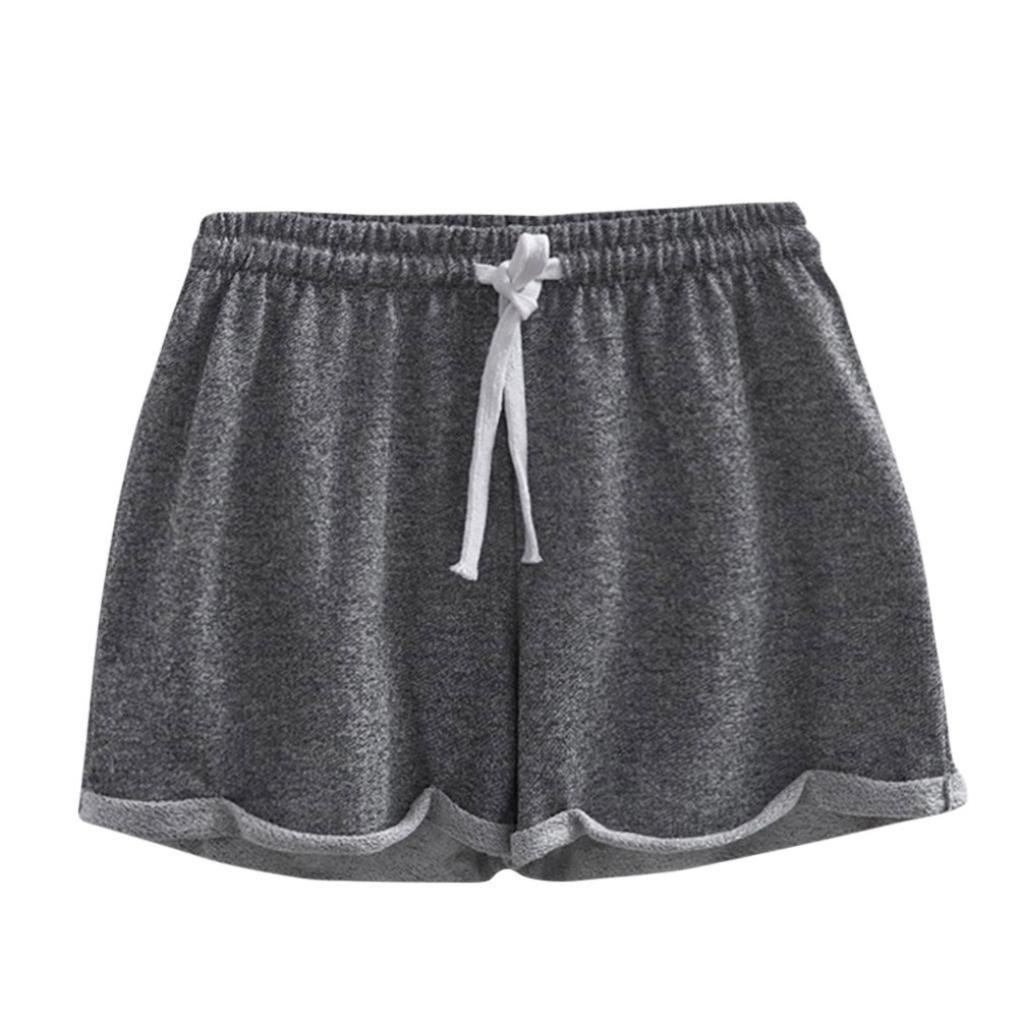 814c76ce6ea34 Cinnamou Pantalones Cortos de Las Mujeres Sólidas Color Shorts ...