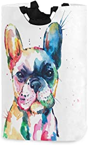Kcldeci Watercolor French Bulldog Laundry Basket Dog Puppy Pet Animal Collapsible Laundry Hamper Clothes Bag Foldable Storage Bin Toy Book Clothing Holder with Handle for Home Bathroom