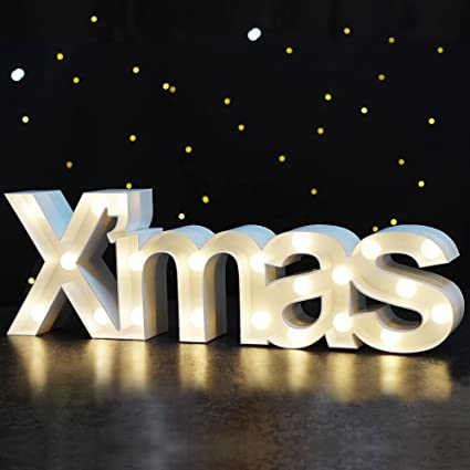 bright zeal 55 tall large xmas christmas marquee sign letters white 6hr timer