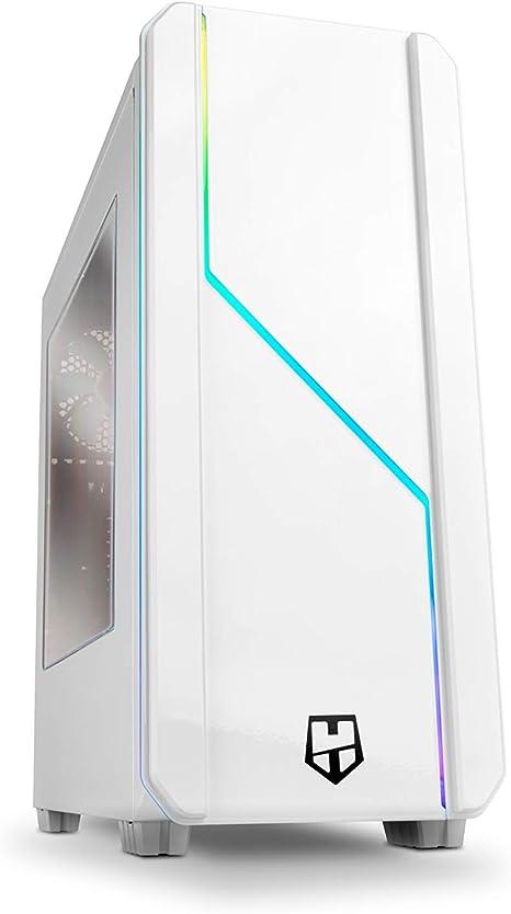 Nox Hummer MC PRO ARGB -NXHUMMERMCPROW- Caja PC, Semi-Torre, tira LED ARGB Rainbow, ventana lateral acrílica, Blanca: Amazon.es: Informática