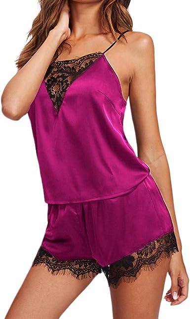 Camisola con Calzoncillos Pijama Mujer Verano Vestido de Dormir Seda de Encaje Sexy Bata Dos Piezas Ropa Interior Cuello V Transparente Chaleco Talla ...