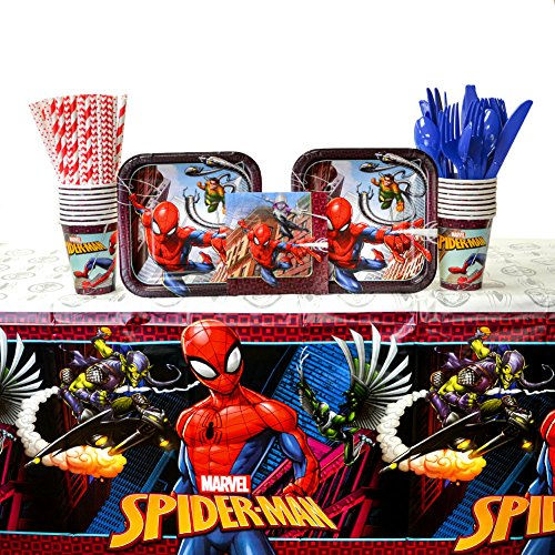 Spider Man Party Table Cover (Spiderman Party Supplies Pack for 16 Guests: Straws, Dessert Plates, Beverage Napkins, Cups, Cutlery, and Table Cover (Bundle for 16))