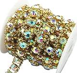 1 Yard 2 Rows 2.5mm Costume Applique Crystal AB Rhinestone Gold Chain Sew On Rhinestone Wedding Cake Decoration